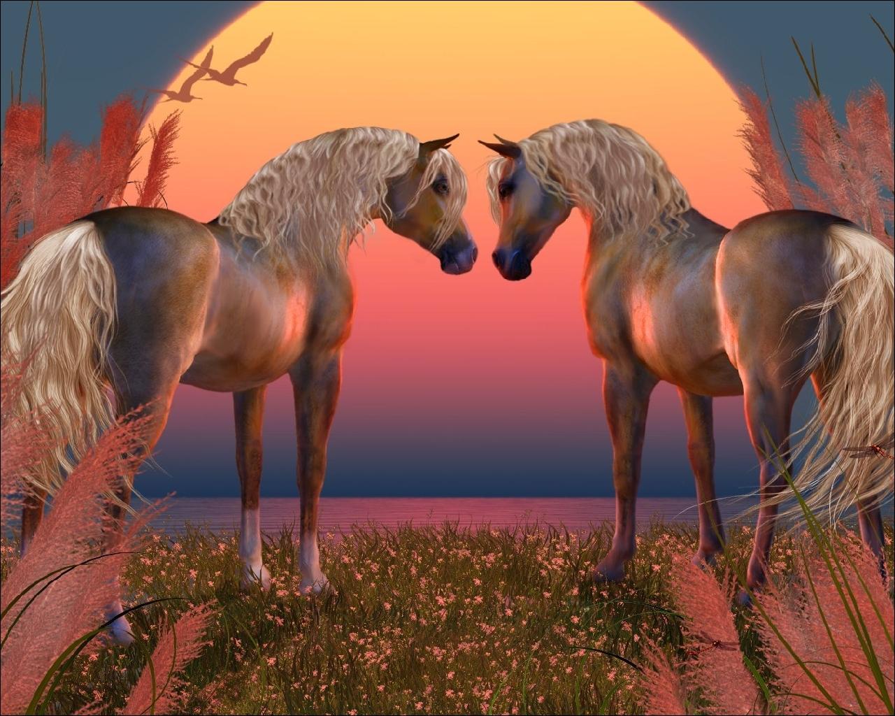 Free Download Hq Two Horses 3d Animals Wallpaper Num 31 1280 X 1024 906 5 Kb