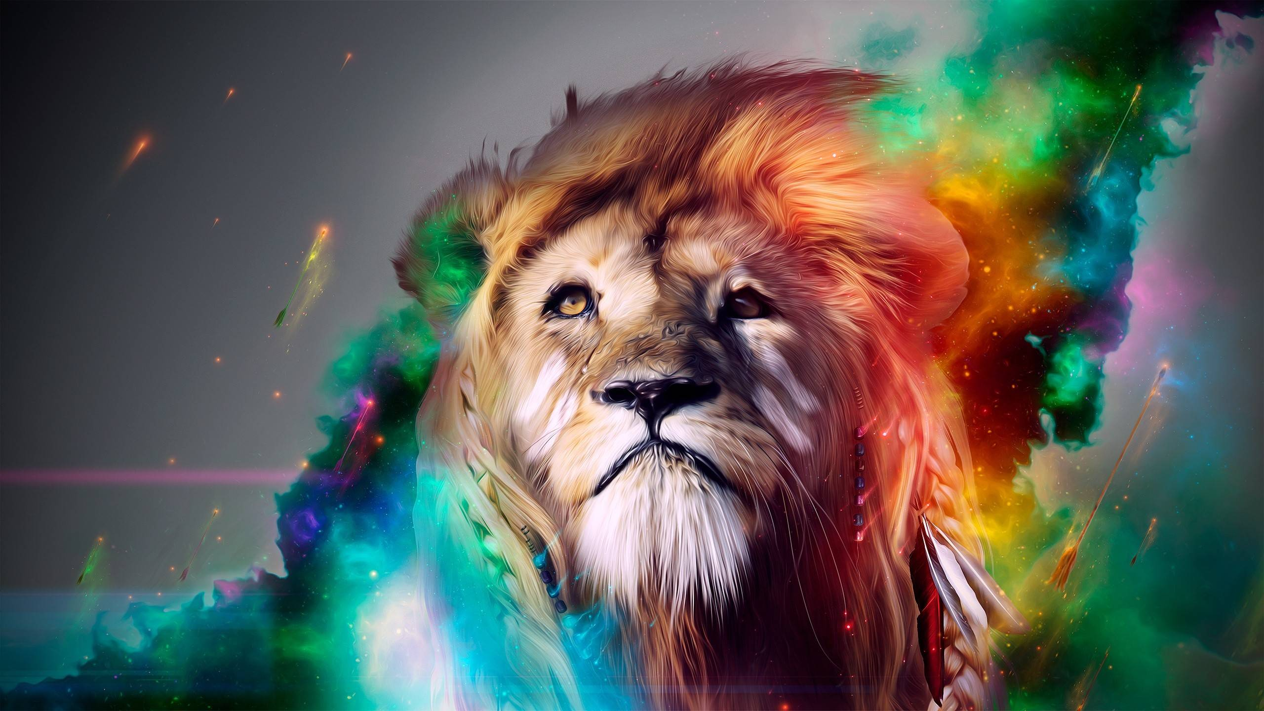 Download High quality King Of His Jungle 3D Animals wallpaper / 2560x1440