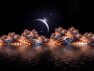Moon'n boardwalk abstract / 3d Landscape