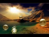 sphere desert / 3d Landscape