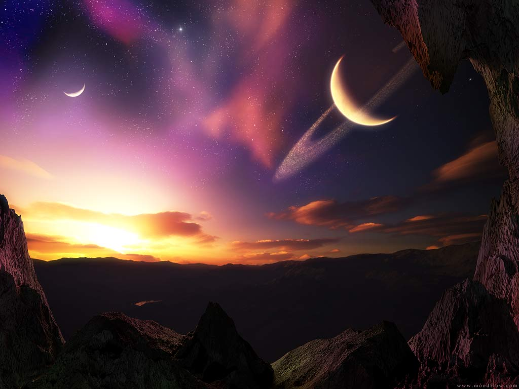 half moon Landscape, Lakes, Mountains, Nature Wallpapers, 3D Landscape