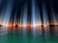 Aurora borealis / 3d Landscape