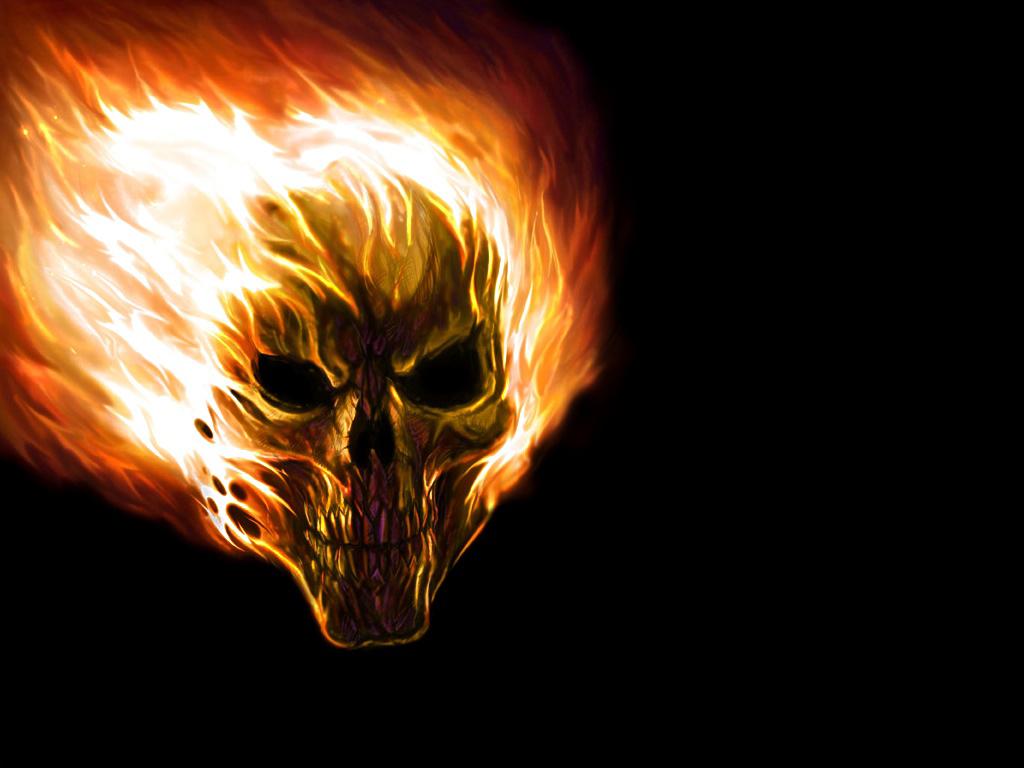 Free Download full size flaming skull Horror Wallpaper Num. 20 : 1024