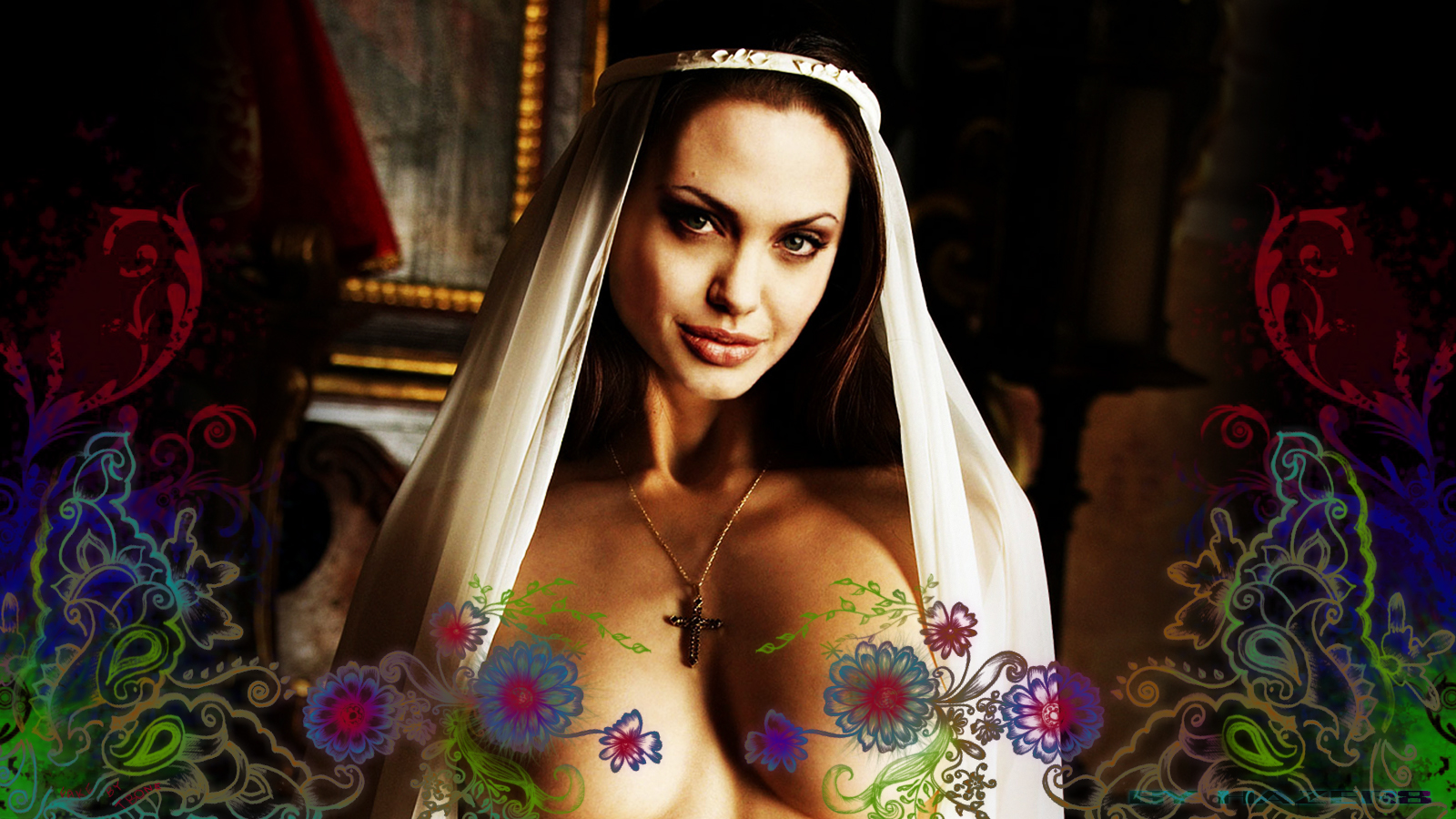 Download High quality jolie, colorfull, nude Angelina Jolie wallpaper
