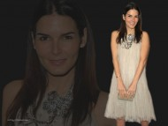 In white dress / Angie Harmon