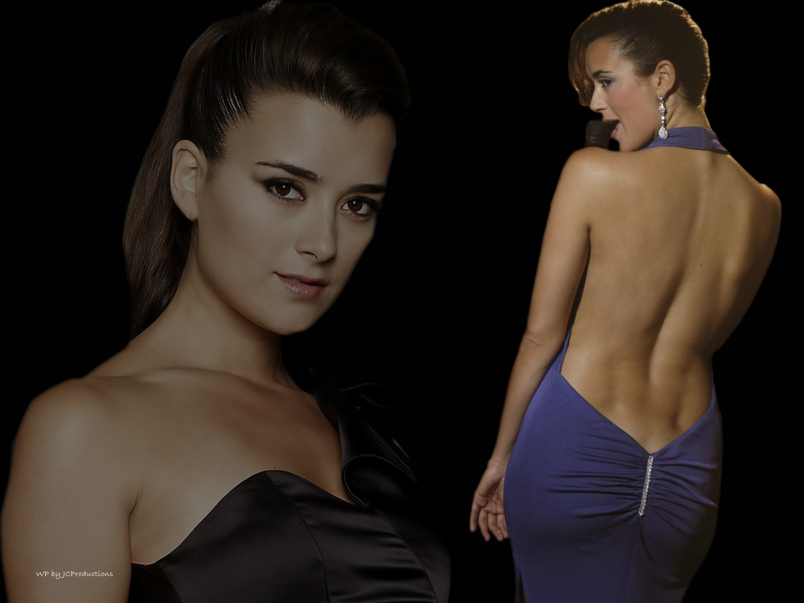 NCIS, Ziva David, Blue Dress, Bare Back Cote de Pablo wallpaper