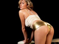 gold shorts back / Keeley Hazell