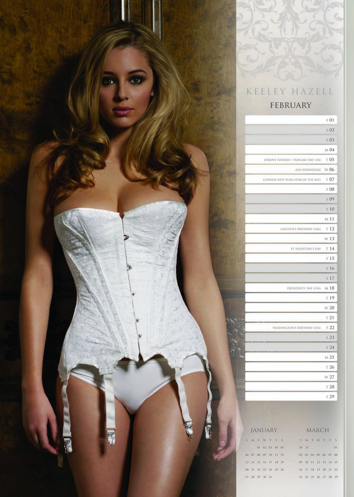Download full size Official Calendar 2008 february Keeley Hazell wallpaper / 1138x1600