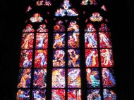 Intricate stained glass inside of Saint Vitus Cathedral / Architecture