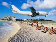 Plane Landing At Airport,Maho Bay,Saint-Martin / Beaches
