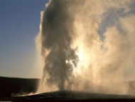 Old Faithful Geyser at Sunset, Yellowstone, Wyoming / Forces of Nature