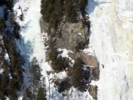 Alpinist On Iced Montmorency Falls, Canada / Waterfalls