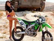 posing with green Kawasaki / Girls & Bike