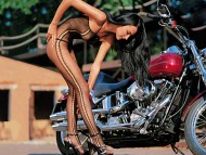 Harley Davidson and all woman in stockings / Girls & Bike