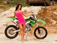green Kawasaki / Girls & Bike