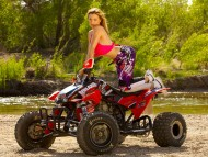 Red ATV / Girls & Bike