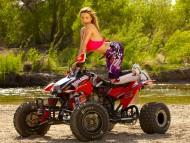 Red ATV / Girls & Bike