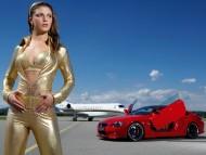 Red BMW & runway / Girls & Cars