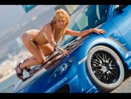 woman on the hood blue mazda RX-8 / Girls & Cars