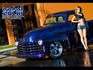 blue socol customs pickup front / Girls & Cars