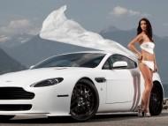 White Aston Martin / Girls & Cars