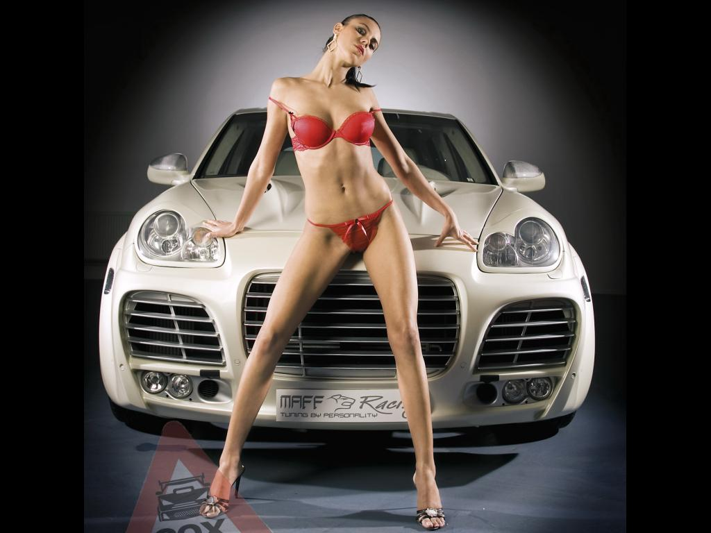 Download White porsche cayenne & red bikini women Girls & Cars wallpaper / ...