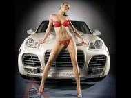 White porsche cayenne & red bikini women / Girls & Cars