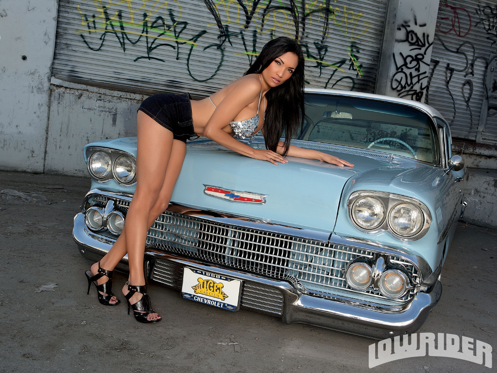 Nude girls posing with cars and motorcycles