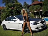White BMW carbon hood / Girls & Cars