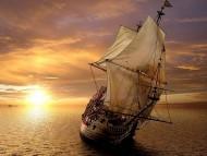 Sun set in sea-way / Frigates & Sailing ships