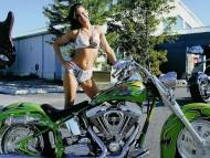 Green bike / Girls & Motorcycles