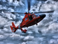 Red chopper of coast guard / Helicopter