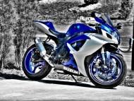 blue Suzuki / Motorcycle