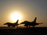 two aircraft at sunset / Military Airplanes