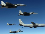 KC-135 Stratotanker Shown refueling F-15 Eagles / Military Airplanes