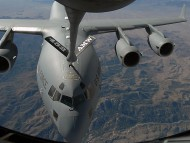 C-17 Globemaster III receives fuel from a KC-135 Stratotanker / Military Airplanes