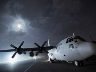 C-130 Hercules at night / Military Airplanes