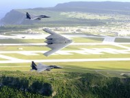 F-15E Strike Eagles and a B-2 Spirit bomber / Military Airplanes