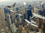 Above city / Military Airplanes